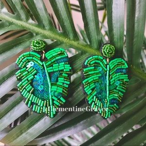 Jewelry - 2 for $30 NWT Monstera Leaf Beaded Earrings